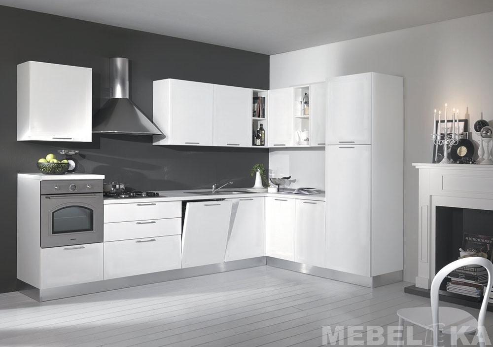 белая угловая кухня духовой шкаф на уровне